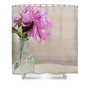 Peony And Blue Bottle Shower Curtain