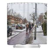 People On Bicycles In Winter Shower Curtain