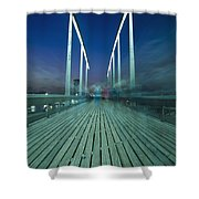 People On Swing Bridge At Dusk, Blurred Shower Curtain