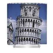 People On Top Of Leaning Tower Of Pisa Shower Curtain