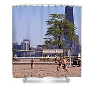 People Playing Beach Volleyball Shower Curtain