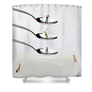 People Playing Golf On Spoons Little People On Food Shower Curtain by Paul Ge