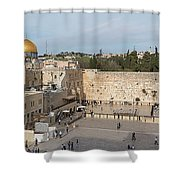 People Praying At At Western Wall Shower Curtain