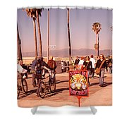 People Walking On The Sidewalk, Venice Shower Curtain