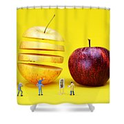 People Watching The Red Apples Shower Curtain by Paul Ge