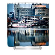 Peoria Illinois Cityscape And Riverboat Shower Curtain