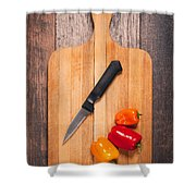 Peppers And Knife On Cutting Board Shower Curtain