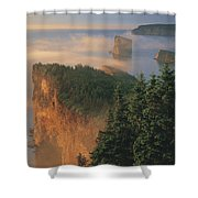 Perce Rock And The Three Sisters In Fog Shower Curtain