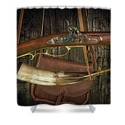 Percussion Cap And Ball Rifle With Powder Horn And Possibles Bag Shower Curtain