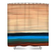 Perfect Calm - Abstract Earth Tone Landscape Blue Shower Curtain