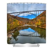 Perfect Reflections Of The New River Gorge Bridge Shower Curtain