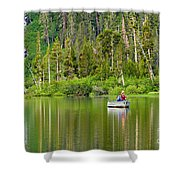 Perfect Sunday - Two People Fishing On A Lake In Mammoth California. Shower Curtain