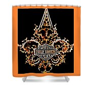 Perforated Fleurs De Lys With Harley Davidson Logo Shower Curtain