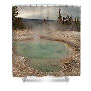 Perforated Pool In West Thumb Geyser Basin Shower Curtain