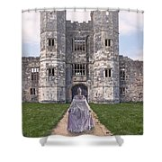 Period Lady In Front Of A Castle Shower Curtain