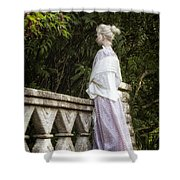 Period Lady On Bridge Shower Curtain