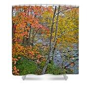 Perkiomen Creek - Perkiomenville Pa - Autumn Foliage Shower Curtain