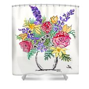 Perky Spring Flowers Shower Curtain