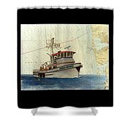 Perseverance Crab Fishing Boat Nautical Chart Art Shower Curtain