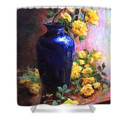 Persian Cobalt - Yellow Roses In Cobalt Vase Shower Curtain