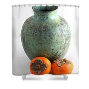 Persimmon With Vase Shower Curtain