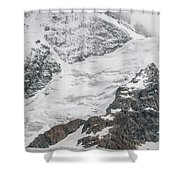 Person Cheering On A Glacier Shower Curtain