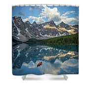 Person In Canoe On Moraine Lake, Banff Shower Curtain