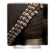 Person Showing Cowry Shell Detail Shower Curtain