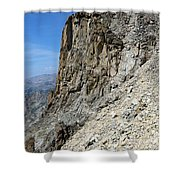 Person Walking Up Steep Stony Shower Curtain
