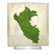 Peru Grass Map Shower Curtain by Aged Pixel