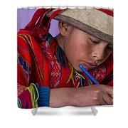 Peru Writing Lesson In Huilloc Primary School Peru Shower Curtain