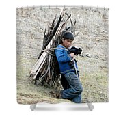 Peruvian Boy Gathers Wood Shower Curtain