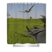 Peteinosaurus Reptiles On The Shore Shower Curtain