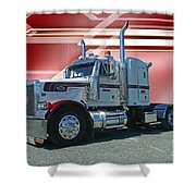 Peterbilt With Burgundy Abstract Shower Curtain