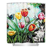 Peters Easter Garden Shower Curtain by Shana Rowe Jackson