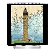 Petit Manan Island Lighthouse Me Nautical Chart Map Art Shower Curtain