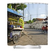 Petrol Stall And Cyclo Taxi In Solo City Indonesia Shower Curtain