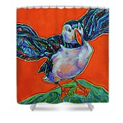 Petty Harbour Puffin Shower Curtain