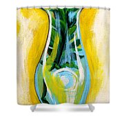 Petunia In Vase With Yellow Background Shower Curtain by Genevieve Esson