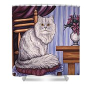 Pewter The Cat Shower Curtain
