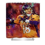 Peyton Manning Abstract 2 Shower Curtain by David G Paul