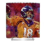 Peyton Manning Abstract 5 Shower Curtain by David G Paul