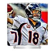 Peyton Manning Throwing The Pass Shower Curtain