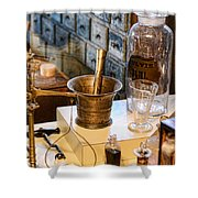 Pharmacist - Brass Mortar And Pestle Shower Curtain
