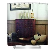 Pharmacist - Desk With Mortar And Pestles Shower Curtain