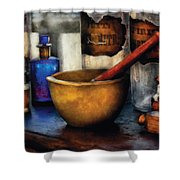 Pharmacist - Mortar And Pestle Shower Curtain by Mike Savad