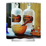 Pharmacist - Mortar And Pestle With Bottles Shower Curtain