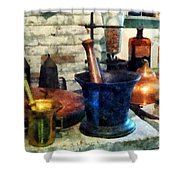 Pharmacist - Three Mortar And Pestles Shower Curtain by Susan Savad