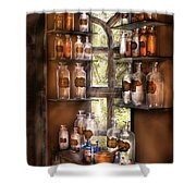 Pharmacist - Various Potions Shower Curtain by Mike Savad