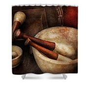 Pharmacy - Back To The Grind Shower Curtain
